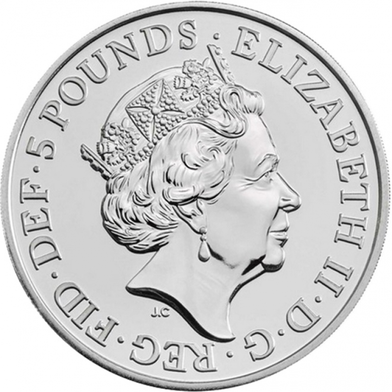2019 U.K 5 Pound 2 Oz Silver Queen/'s Beast Great Britain The Yale of Beaufort