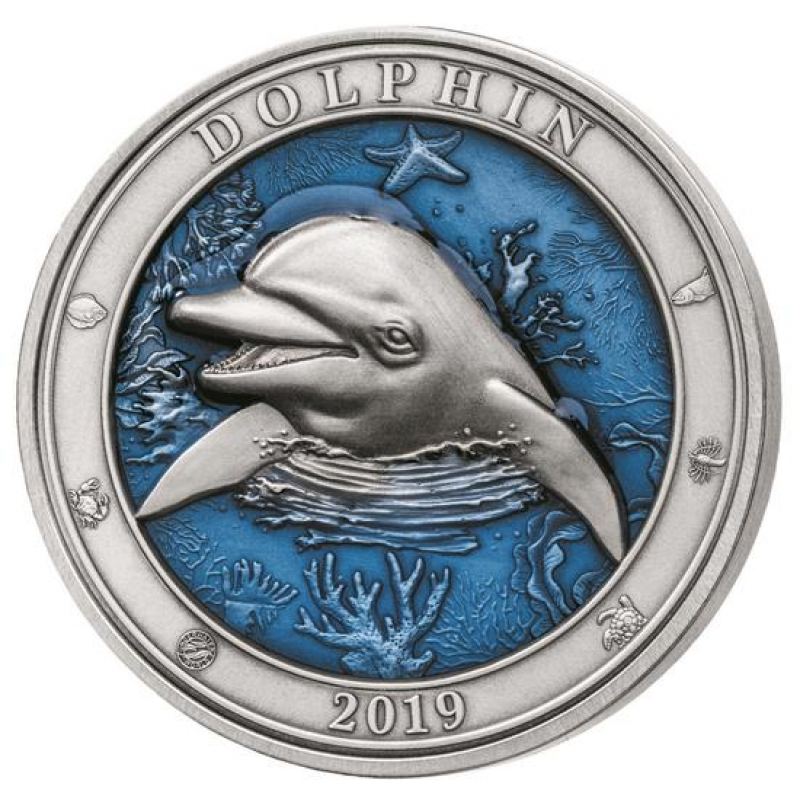 3 Oz Silber Barbados Delfin Barbados 2019 Af Coloured Antique Finis