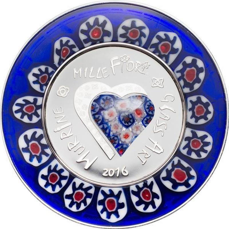 Cook Islands 2017 $ 5 Murrine Millefiori Glass Art 20 g Silver Proof Coin