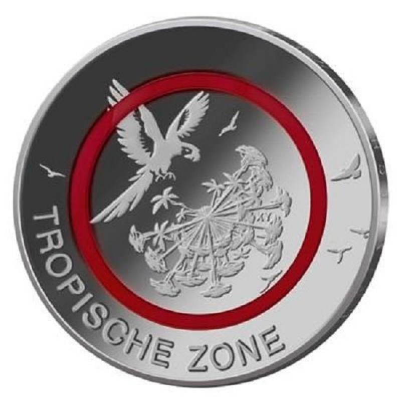 5 Euro Germany 2017 Tropical Zone Polymeric Ring F Stuttgart Mint U