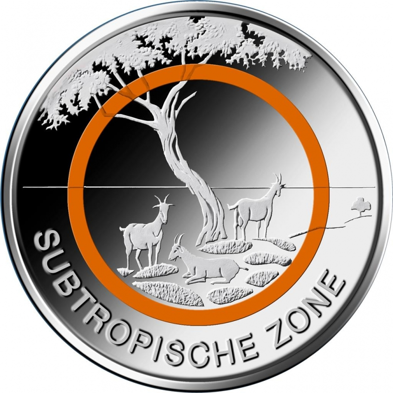 5 Euro Deutschland 2018 Subtropische Zone Polymerring Prägestau