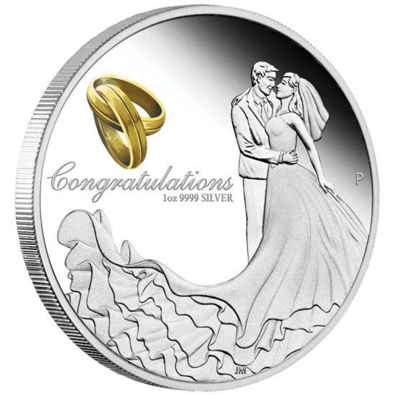 Australien Gluckwunsch Zur Hochzeit 1 Unze Silber Farbe 2019 Proof