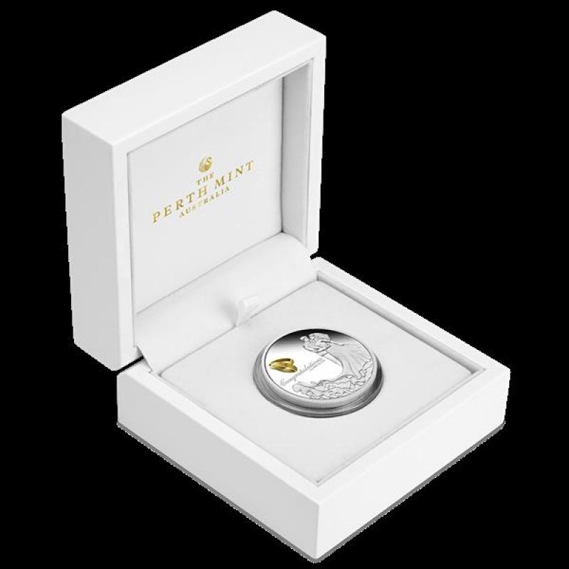Australien Glückwunsch zur Hochzeit 1 Unze Silber Farbe 2020 Pro