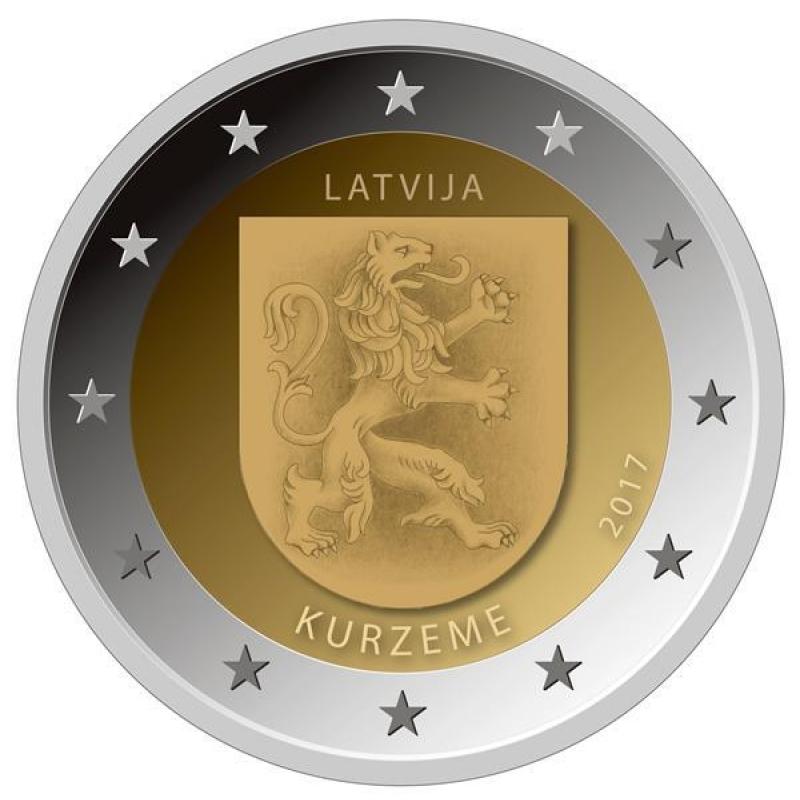 Lettland 2 Euro Lettische Kurzeme Regionen Lettlands 2017 Coincard 1