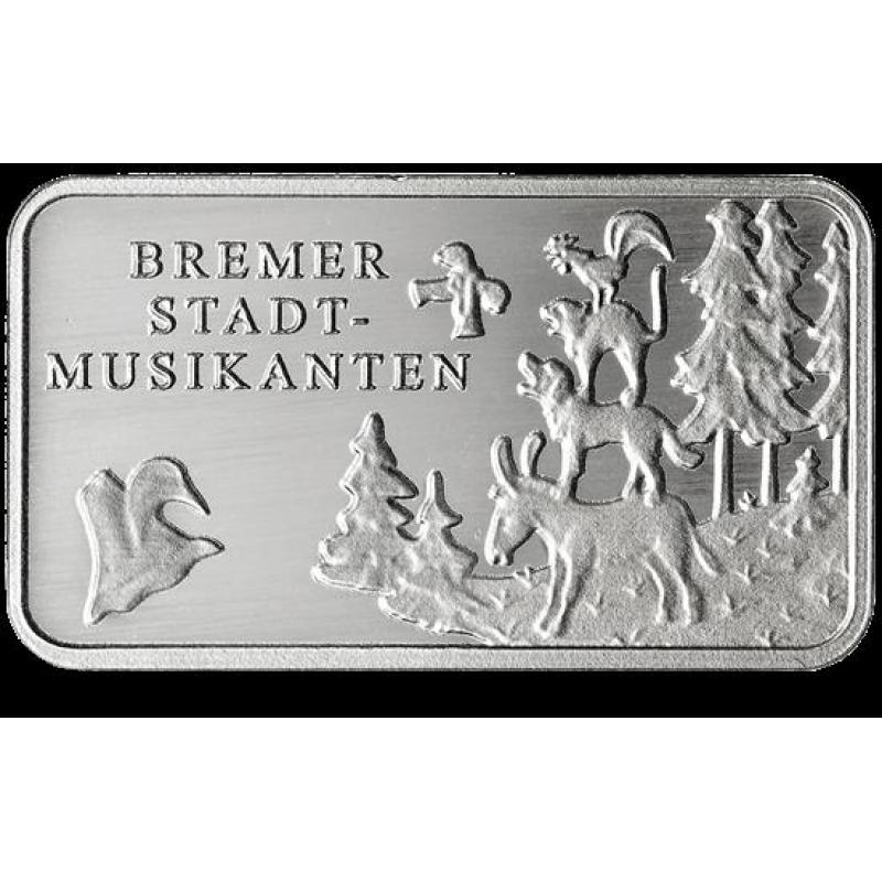 Märchen Silberbarren Bremer Stadtmusikanten 99999 Münze
