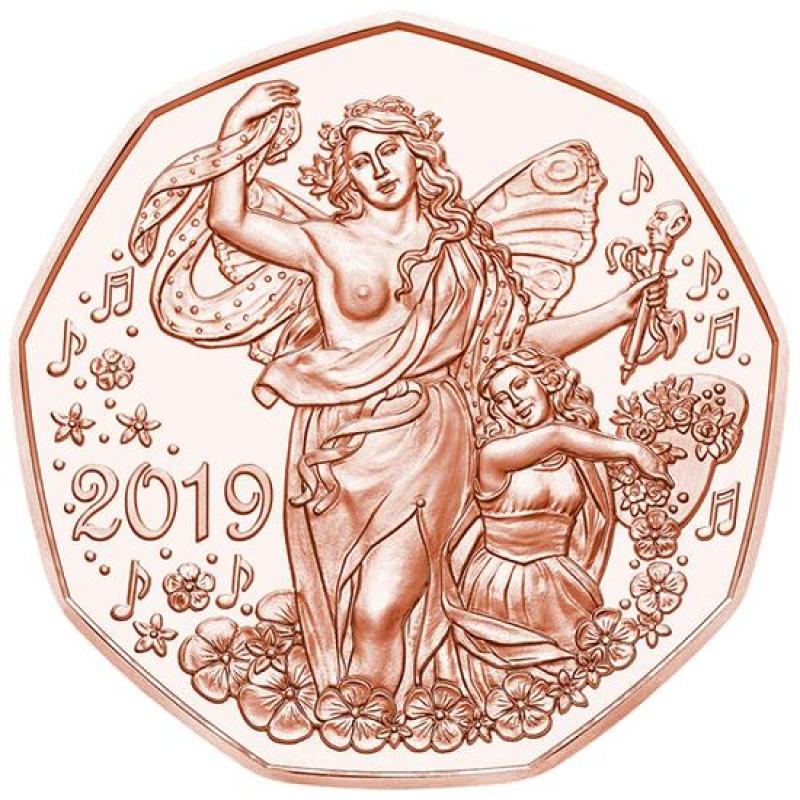 österreich 5 Euro Neujahr Lebensfreude 2019 Kupfer 790