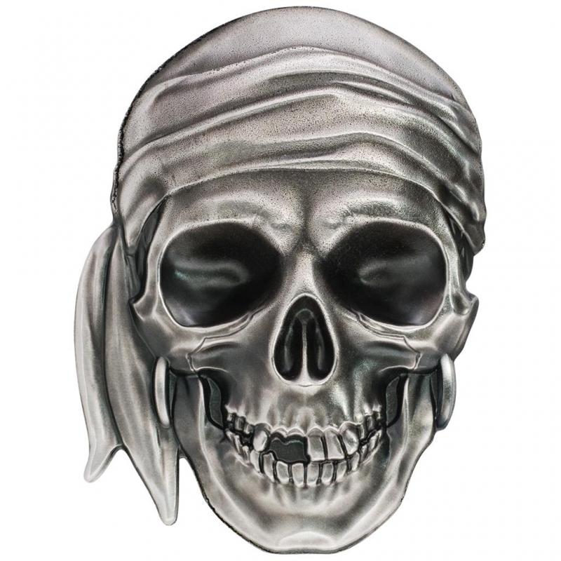 Palau 2017 5 1 Oz Silber Pirate Skull Totenkopf Silber Antique Fi