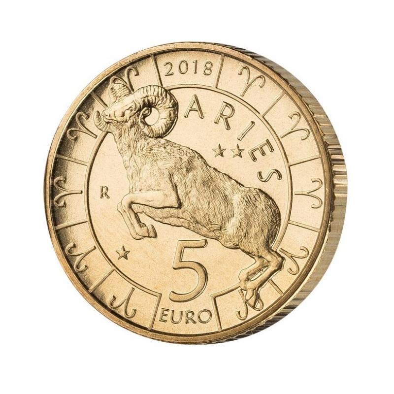 San Marino 5 Euro 2018 Tierkreis Serie Widder Bimetall 890 Euro