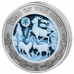 3 Oz Silver Rwanda Lunar Year of the Goat 2015 Cameo-Coin...