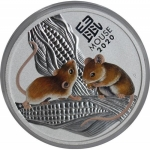 2020 Australia 1/2 oz Silver Lunar Mouse BU (Colorized)
