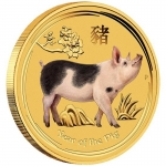 1/20 oz Gold Australian Lunar Year of the Pig colored...