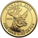 2020  Canada 1/4 oz Gold Woodland Caribou Coin Reverse Proof