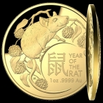 2020  $100  Year of the Rat Domed (SIII) 1oz Gold Proof (RAM)