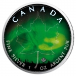 1 oz Silver Canadian Maple Leaf 2018 colorized Northern...