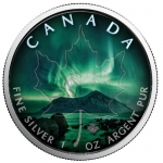 1 oz Silver Canadian Maple Leaf 2018 colorized Northern Lights Notthwest Territories
