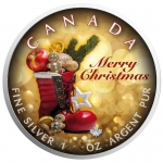 1 oz Silver Canadian Maple Leaf 2018 colorized Christmas...