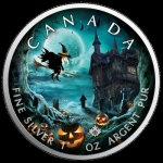 1 Oz Silber Maple Leaf Farbe 2019 Halloween (02) Ghost...