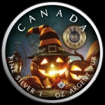 1 oz Silver Canadian Maple Leaf 2019 colorized Halloween (3) The Witching Hour Special Edition