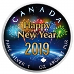 1 Oz Silber Maple Leaf Farbe 2019 Happy New Year  (01) Around the Globe  Special Edition Kanada farbig