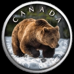 1 oz Silver Canadian Maple Leaf 2019  On the Trails of Wildlife (3) - Grizzly Bear Canada