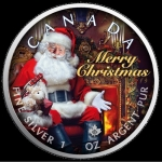 1 oz Silver Canadian Maple Leaf 2019 colorized Christmas (2) Santa Claus Special Edition