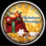 1 oz Silver Canadian Maple Leaf 2019 colorized Christmas (3) Merry Christmas Special Edition