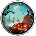 1 oz Silver Canadian Maple Leaf 2020 colorized Halloween (1) Mystic Silence Special Edition