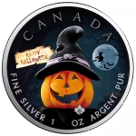 1 oz Silver Canadian Maple Leaf 2020 colorized Halloween (2) Spooky Fun Special Edition