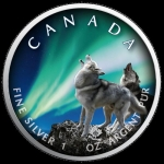 1 Oz Silver Maple Leaf 2020 Polar Lights - Banff National...