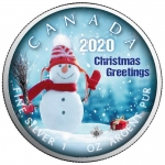 1 oz Silver Canadian Maple Leaf 2020 colorized Christmas Greetings (1) Special Edition