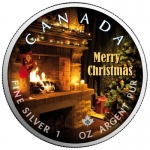 1 oz Silver Canadian Maple Leaf 2020 colorized Merry Christmas (2) Special Edition