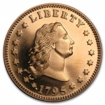 1 Unze Copper Round Flowing Hair Dollar 999,99 AVDP