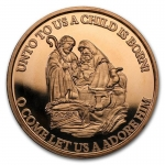 1 oz Copper Round - Merry Christmas Unto Us A Child Is...