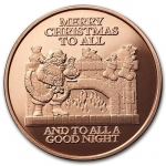 1 Unze Copper Round Frohe Weihnachten Merry Christmas To...