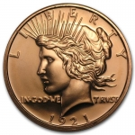 1 oz Copper Round  Peace Dollar .999 AVDP