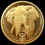 1 Unze Gold Big Five Elefant Südafrika 2019 Proof