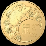 2020 Australia 1 oz Gold Lunar Year of the Rat BU (RAM)