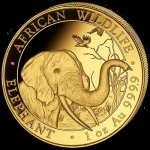 1 Oz Gold Somalia 100 Sh Elephant Coin 2018