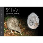 2016 1 oz Silver New Zealand $1 Kiwi Great Spotted Kiwi...