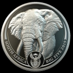 1 Unze Platin Big Five Elefant Südafrika 2019 Proof