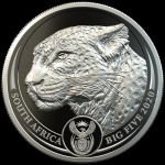 1 Unze Platin Big Five Leopard Südafrika 2020 Proof