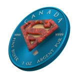 2016 Canada 1 oz Silver $5 Superman in Space Blue with...