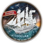 1 oz Silver Cook Islands $1 Bounty .999 Fine 2020 - High Seas coloured