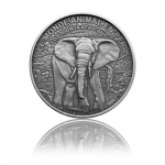 1 Unze Silver Ivory Coast Elephant in Danger 2016 Antique...
