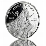 2018 Republic of Ghana 1 oz Silver African Leopard BU 5...