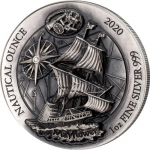 1 Unze Silber High Relief 40/4 Ruanda Nautical Ounce...