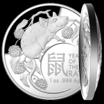 2020 $5 Year of the Rat Domed (SIII) 1oz Silver Proof - RAM