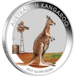 2012 Australia 1 oz Silver Kangaroo (Colorized, In...