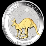 2019 $1 Kangaroo Gold-Plated 1oz Silver BU