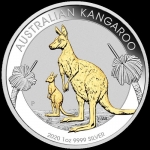 2020  $1 Kangaroo Gold-Plated 1oz Silver BU